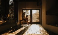 Mollie Krengel takes a reflective pause while at The Joshua Tree House in Tucson, Ariz.