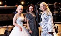 From left, Lauren Strauss, Claire DesLauriers and Kalli Anderson share the multi-faceted lead role in MHS's production of Evita.
