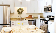 A kitchen in a room at The Waters of Excelsior, a senior living facility.