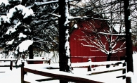A red barn is surrounded by snow in this Lens on Lake Minnetonka photo contest winning photo.