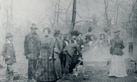 Tapping the sugar maples was an annual event at the Hazen Burton Sugar Camp in 1898 at the Burtons' Chimo estate.