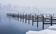 A shot of a spring blizzard on Lake Minnetonka