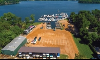 An overhead shot of North Shore Marina, which offers boat storage and maintenance on Lake Minnetonka.