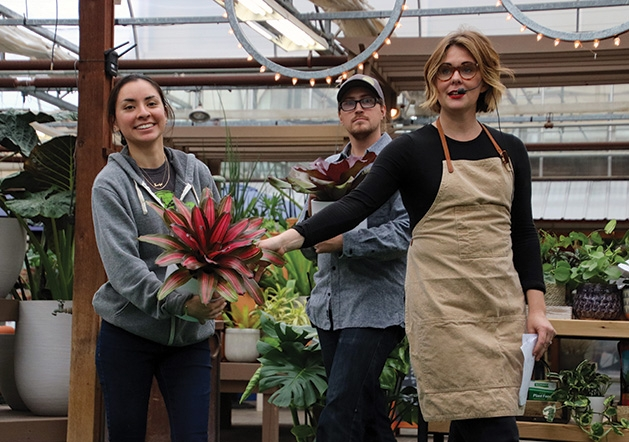 Jocelyn Espino, Simon Dunnquery and Jessie Jacobson at Tonkadale Greenhouse's houseplant runway show