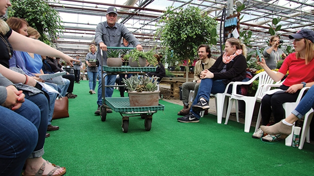 Mike Brown at Tonkadale Greenhouse's houseplant runway show