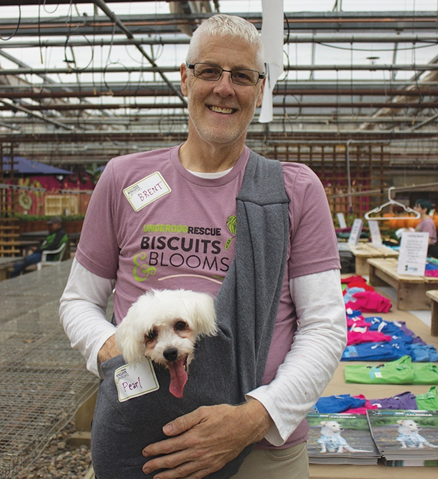 A man holds his dog at Tonkadale Greenhouse's Biscuits & Blooms event