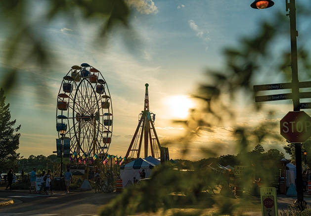 The ferris wheel and other rides at James J. Hill Days 2019.
