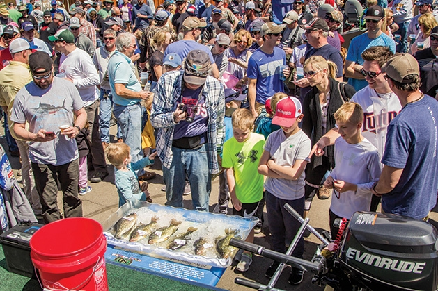 Fisherman admire some catches in a cooler at the 51st Annual Minnesota Bound Crappie Contest.