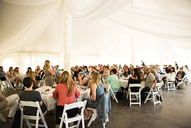 The crowd at the Twin Cities Wedding & Event Professionals meeting at Minnetonka Orchards.