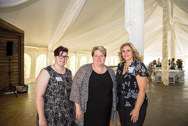 Mel Clark, Kelly Delisle and Paulla Buschilla at the Twin Cities Wedding & Event Professionals meeting at Minnetonka Orchards
