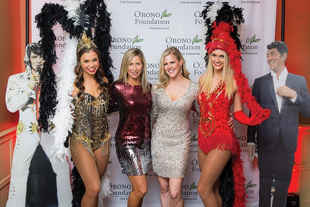 Vegas Show Girls with Heather Pilakowski and Nicholle Parrish at the Orono Foundation's 2019 Red and Blue Bash.