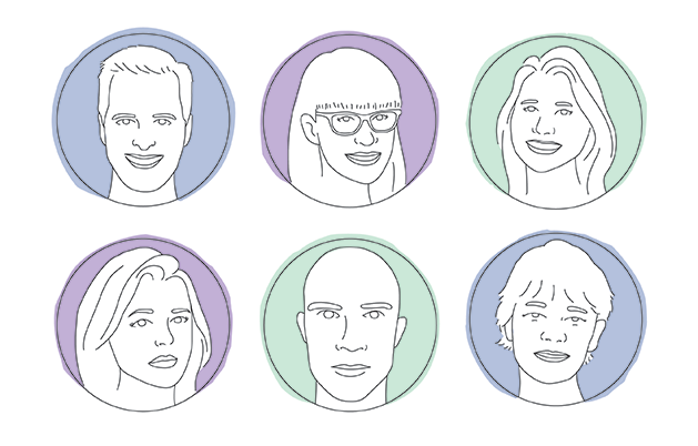 Illustrated portraits of six authors.