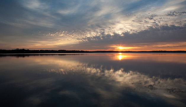 A shot of the sunrise over Lake Minnetonka