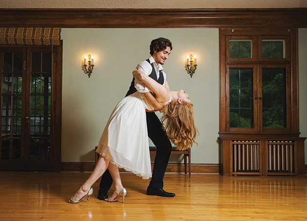 A couple practices their first dance at Tulle Tuxedo