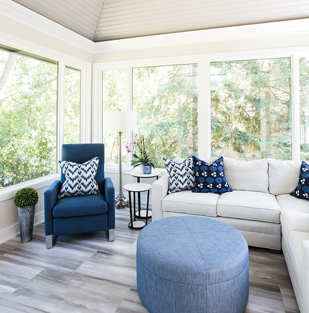 The sitting room of a remodeled Minnetonka home.