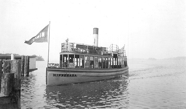 The Minnehaha, a streetcar steamboat on Lake Minnetonka