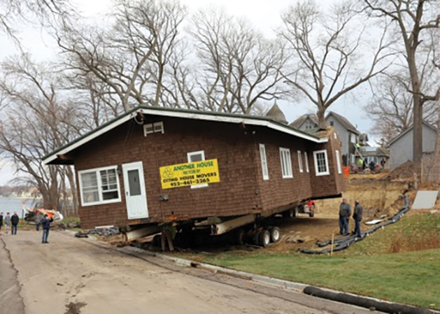 Historic home being moved to new location.