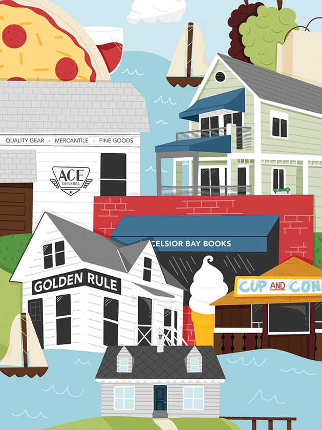 An illustration of various places to visit during a staycation in the Lake Minnetonka area.
