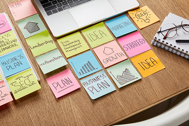 Post-it notes displaying a business plan and other business terms