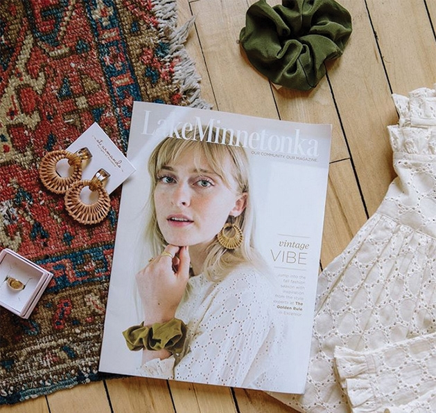 A copy of the September 2019 issue of Lake Minnetonka Magazine sits on the floor of The Golden Rule gallery.