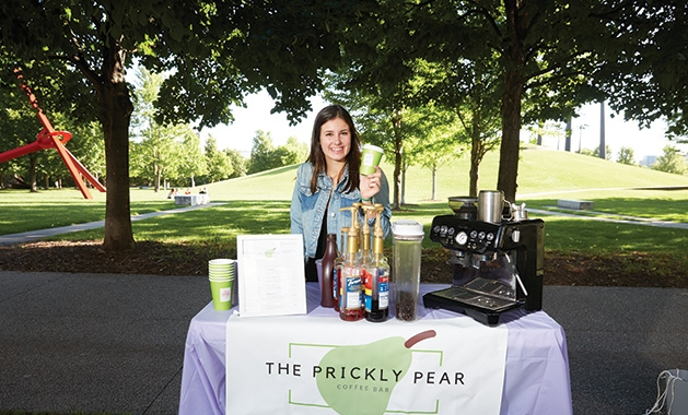 Annika Van Nest with her mobile coffee bar, Prickly Pear.