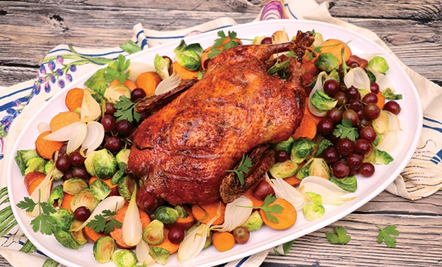 A game bird cooked for Thanksgiving dinner.