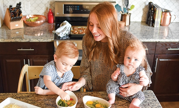 Elizabeth Lepage with her two children
