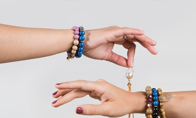 Bracelets from farahbean, a natural jewelry company founded in Minnesota.