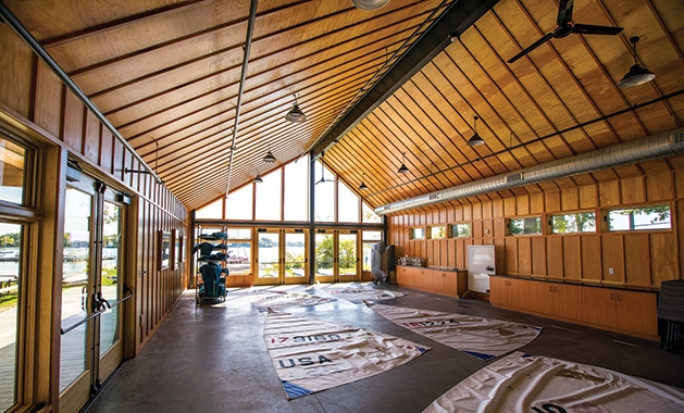 The interior of the new Wayzata Sailing Mike Plant Community Boathouse.
