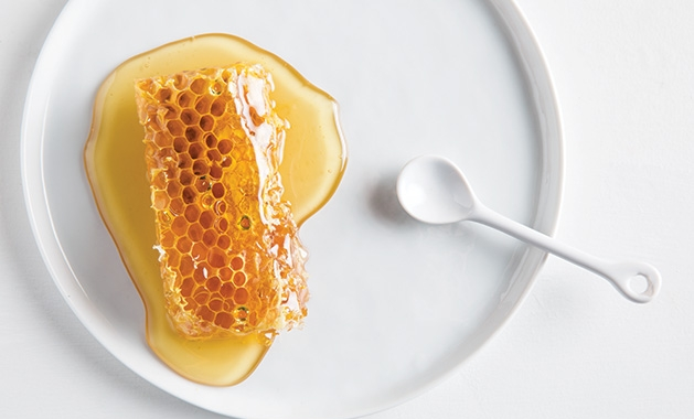 A honeycomb covered in honey from Ames Farm