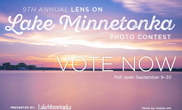 A graphic advertising voting for the 2019 Lens on Lake Minnetonka photo contest.