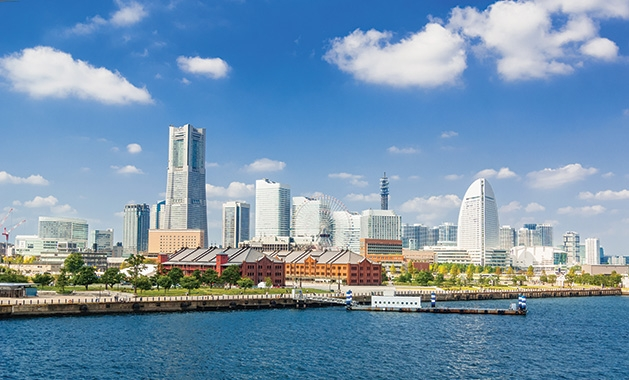 The skyline of Yokohama, Japan.