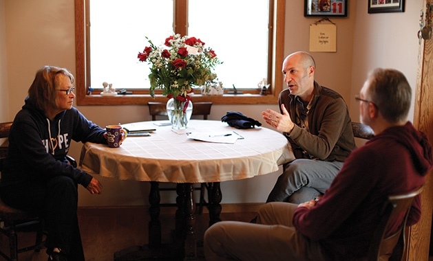 Minnetonka filmmaker Chris Newberry sits down with Jerry and Patty Wetterling while filming a documentary about their son, Jacob Wetterling