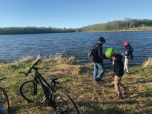 Bikers take a break on the Lake Minnetonka Regional Trail