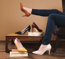 A woman models heels from Julieta Shoes