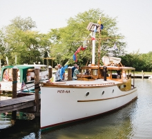 A wooden boat at the Real Runabouts Rendezvous, an event hosted by the Bob Speltz Land-O-Lakes chapter of the Antique and Classic Boat Club.