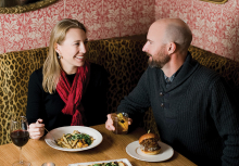 A couple enjoys a Valentine's Day date night at Red Sauce Rebellion.