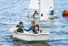 Kids sailing at a Lake Minnetonka summer camp.