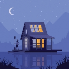 An illustration by Rich Stromwall shows a man standing on the porch of his cabin, which floats on a lake.