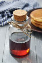 A jar of sap for making syrup.