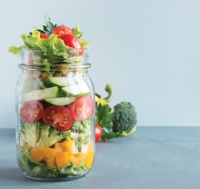 A mason jar salad, one of many ways to spice up your bag lunch suggested by MasterChef Junior contestant Ariana Feygin