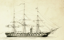 A sketch of the USS Minnesota on which both George and Frank Halstead served during the Civil War.