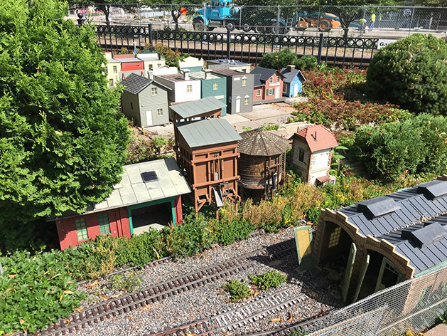 A model town and trainyard.