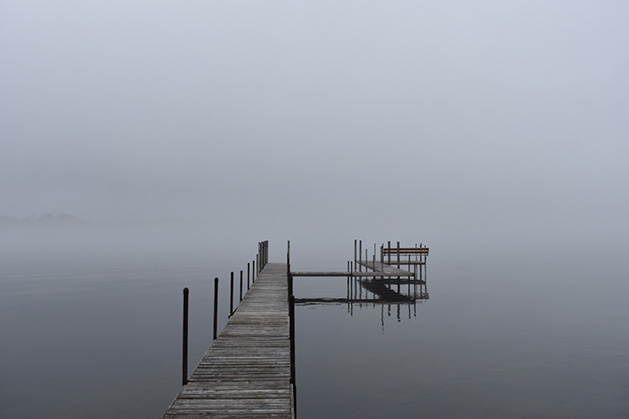 A foggy dock on Lake Minnetonka